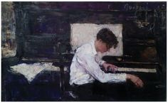 """Pianist"" oil on canvas 80x110cm"