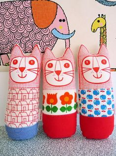 Screen printed and vintage retro fabric toy cat... - Folksy