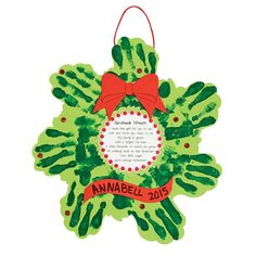 Christmas Wreath Handprint Poem Craft Kit, Handprint Crafts, Crafts for Kids, Craft & Hobby Supplies - Oriental Trading Christmas Activities For Kids, Preschool Christmas, Christmas Themes, Kids Christmas, Christmas Wreaths, Christmas Gifts, Christmas Ornaments, Preschool Winter, Christmas Canvas