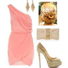 """Coral Pink Dress and Gold Accessories"" by lklein23 on Polyvore"