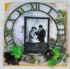 Smitten - Scrapbook.com - A large clock is a classic background for a vintage layout.