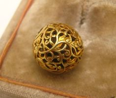 Antique 19th C. Japanese 14K Gold Ojime Bead Vines Leaves   # 9  Netsuke 13MM IN DIAMETER..WEIGHS 3.0 GRAMS Tested 12k-14k Sold 5/26/16 eBay $1825.00