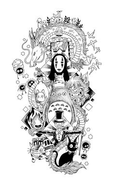 Tatuaje Studio Ghibli, Art Studio Ghibli, Studio Ghibli Tattoo, Tattoo Design Drawings, Art Drawings Sketches, Tattoo Sketches, Tattoo Designs, Tattoo Grafik, Spirited Away Tattoo