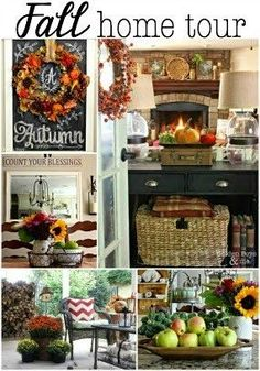 Fall Home Tour with rustic stone fireplace, plaid, striped drapes