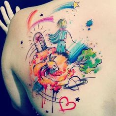 Tattoos, little prince tattoo, the little prince, kids watercolor, watercol Anime Tattoos, Music Tattoos, Mom Tattoos, Great Tattoos, Body Art Tattoos, Tatoos, Little Prince Tattoo, The Little Prince, Small Symbol Tattoos