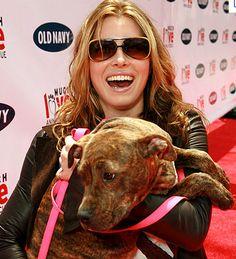 Jessica Beil and her pitbull Tina.