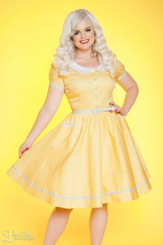 50's Style Day Dress with Peter Pan Collar Pockets and Faux Buttons inYellow and WhitePin Dots | Pinup Girl Clothing