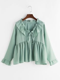 Shein Bertha Collar Self Tie Smock Frill Blouse Hijab Fashion, Korean Fashion, Fashion Outfits, Women's Fashion, Blouse Styles, Blouse Designs, Long Sleeve Peplum Top, Peplum Tops, Ruffle Sleeve