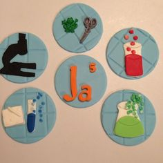 science cupcake toppers edible fondant young scientist chemistry biology experiment test tubes chemicals element microscope by InscribingLives (24.99 USD) http://ift.tt/23TxKQv