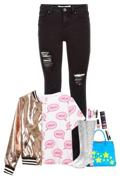 """""""roseish gold"""" by emmzizleez888 ❤ liked on Polyvore featuring Sans Souci, Camouflage Couture, Yves Saint Laurent, Maybelline, OPI, Lancôme, By Terry and vintage"""