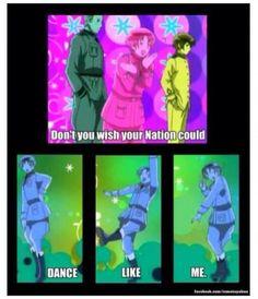 Don't you wish your nation could dance like mine hetalia Otaku, Hetalia The Beautiful World, Hetalia Funny, Hetalia Anime, Animes On, Hetalia Axis Powers, Usuk, Kaichou Wa Maid Sama, Wattpad