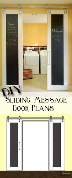 Combine two fun home decor trends sliding barn doors and chalkboards. Build DIY double sliding doors with free plans on - March 02 2019 at Inexpensive Home Decor, Cheap Home Decor, Diy Home Decor, Double Sliding Doors, Sliding Barn Door Hardware, Door Latches, Gate Hardware, Do It Yourself Baby, Diy Room Divider