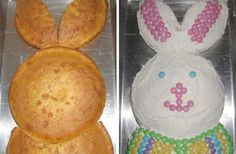 Candy Addict shares an idea for a cute Easter Bunny Cake that's easy to cut and construct. Your naked bunny cake is then a blank canvas for heavy doses of frosting topped with all kinds of Easter candy. Easter Bunny Cake, Happy Easter, Easter Food, Holiday Baking, Holiday Fun, Holiday Crafts, Holiday Ideas, Festive