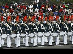 The drum corps of the Bernardo O'Higgins Military Academy at the 2005 Chilean Army Day Parade in Santiago.