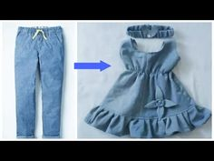Quick conversion from old jeans to a very nice girl's dress. Dresses Kids Girl, Kids Outfits Girls, Sewing Baby Clothes, Diy Clothes, Robe Diy, Baby Frocks Designs, Kids Dress Patterns, Fancy Blouse Designs, Clothing Hacks
