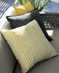 The fresh patterns and sun-kissed color of our outdoor pillow collection add standout style and plush comfort. Jagged yellow and white lines outlined in charcoal stripe a contemporary, optical pattern that pairs especially well with our Dune and Morocco outdoor furniture collection.