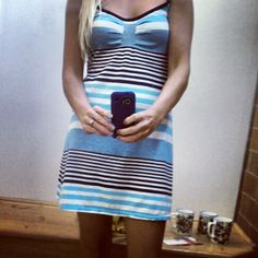 #OOTD  #thrifted OldNavy striped dress--