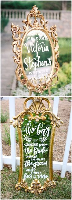 vintage wedding welcome sign #weddingsigns #gold #vintage #weddingdecor #vintageweddings ❤️ http://www.deerpearlflowers.com/vintage-welcome-wedding-sign-ideas/