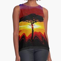 """African Safari Sunset"" Sleeveless Top by Safari-Dreams | Redbubble Womens Sleeveless Tops, African Safari, Chiffon, Dreams, Sunset, Tank Tops, Fabric, Things To Sell, Black"