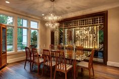A dining room with wine storage