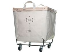 Steel canvas industrial laundry cart