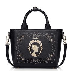 Bags For Women 2017 Embroidery Girl Floral Hoop Black Trapeze Handbag  Baroque Style Pattern Printed Zipper Shoulder Bag For Lady d942b16948