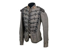 A RIFLE VOLUNTEER OFFICER'S FULL DRESS DOUBLET CIRCA 1859-1870 a very rare grey doublet, probably of the Highland Company of the Queen's Rifle Volunteer Brigade, Royal Scots, with gauntlet cuffs and Inverness skirts, British Uniforms, Doublet, Military Uniforms, Western Dresses, Military History, Tartan, Woods, Scotland, Fashion Inspiration