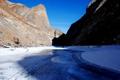 Trekking on Frozen Chadar River in Great Himalyas : Perhaps the most difficult and the wildest trek route in the world.  Read more - http://kingdom-of-sky.blogspot.in/2012/04/ice-ramp-walk-on-ice-2012.html