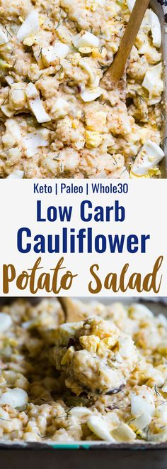 Low Carb Cauliflower Potato Salad -  This keto, paleo and whole30 Cauliflower Potato Salad tastes EXACTLY like the classic potato salad without the carbs! Everyone will be fooled by this healthy comfort food! | #Foodfaithfitness | #Paleo #Keto #Glutenfree #Lowcarb #Whole30 Healthy Gluten Free Recipes, Low Carb Recipes, Real Food Recipes, Whole30 Recipes, Drink Recipes, Paleo Cauliflower Recipes, Cooking Recipes, Cauliflower Potatoes, Cauliflower Salad