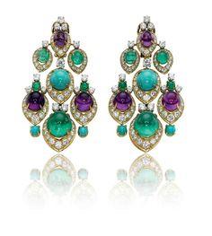 A pair of multi-gem chandelier earrings, by Bulgari