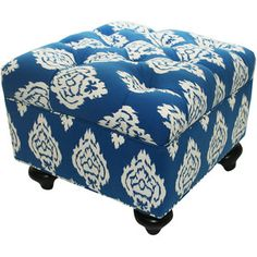 tufted ottoman | Blue Ikat Tufted Ottoman - Polyvore