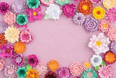 Colourful handmade paper flowers on pink background with copyspace in the middle May Bullet Journal, Shops, Hey Gorgeous, Abstract Photos, Program Design, Cover Photos, Paper Flowers, The Creator, Cricut