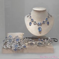 An important 19th century sapphire and diamond necklace, tiara and corsage