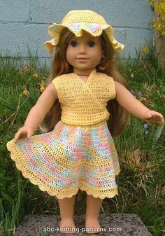 ABC Knitting Patterns - American Girl Doll Sleeveless Wrap Top