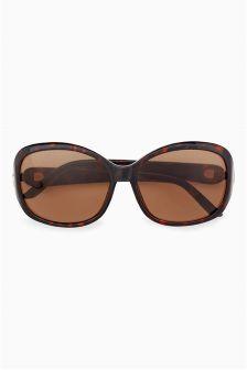 Buy Tortoiseshell Effect Square Polarised Sunglasses from the Next UK online shop