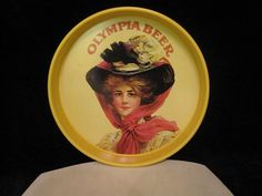 $30 · Vintage Olympia Beer metal serving bar tray with ladies portrait graphic.