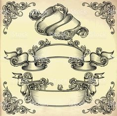 Vintage ribbons royalty-free vintage ribbons stock vector art & more images of engraved image Tattoo Lettering Design, Graffiti Lettering, Tattoo Designs, Cherub Tattoo, Filigree Tattoo, Scroll Tattoos, Schrift Tattoos, Engraving Art, Vintage Artwork