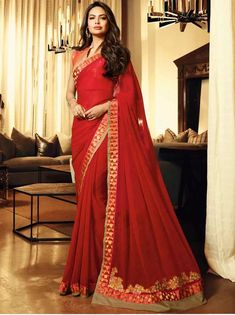 Online Shopping of Esha Gupta Georgette Party Style Red Saree With Embroidery Work from SareesBazaar, leading online ethnic clothing store offering latest collection of sarees, salwar suits, lehengas & kurtis Party Wear Sarees Online, Party Wear Kurtis, Bridal Lehenga Choli, Saree Wedding, Chiffon Saree, Georgette Sarees, Saree Trends, Gowns For Girls, Red Saree