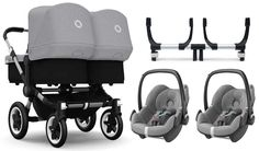 Das ultimative Set für Zwillinge! Der Bugaboo Donkey Zwillingswagen inklusive zwei Maxi Cosi Babyschalen und passenden Autositz Adapter