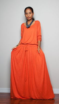 Maxi Dress (Brick Orange) -  Long Sleeve dress : Autumn Thrills Collection No.1  (Best Seller) on Etsy, £37.57