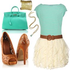 turquoise & brown outfit
