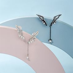 Silver AB Angel Wing Long Dangle Clips Earrings Womens Gifts | Annie Jewel