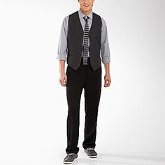Bryan -- likes to wear vest/tie combo... with jeans. (thinking how to pull that off with our bright palette)