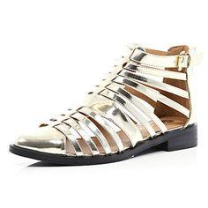 Gold closed toe gladiator sandals £40.00