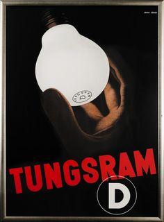 Annen, Melchior poster: Tungsram D Vintage Advertising Posters, Vintage Advertisements, Vintage Ads, Vintage Posters, Print Advertising, Modern Graphic Design, Retro Design, Vintage Light Bulbs, Vintage Lighting