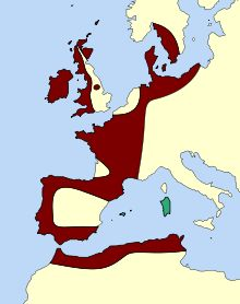Extension du mégalithisme préhistorique en Europe et en Afrique du Nord (en rouge) et de la zone de construction de mur cyclopéen(en vert).  Mégalithisme — Wikipédia