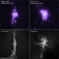 Black holes at the centre of galaxies give birth to stars by shooting out hot jets of gas which then cool into star-forming clouds. Pictured top are observations of gas density from two galaxies, and bottom, a simulation shows how hot jets regulate star formation