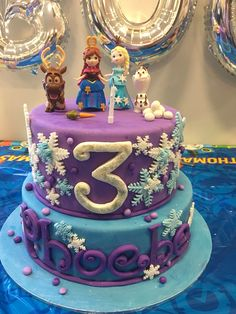 Frozen birthday cake #frozen #cake #purple #blue #olaf #anna #elsa