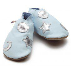 Cosmos Baby Blue & Silver Soft Leather Baby Shoes Made and supplied by Star Child Shoes in #Leicestershire - £18.00