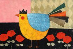 Yusuke Yonezu Cartoon Chicken, Barnyard Animals, Chicken Art, Paper Animals, Chickens And Roosters, Galo, Naive Art, Painted Paper, Little Birds